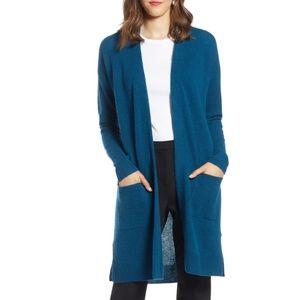 HALOGEN Rib Knit Wool & Cashmere Cardigan (XS)